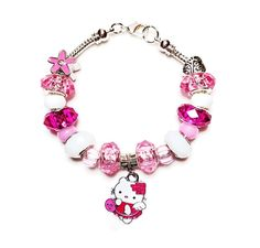 """A perfect stocking stuffer for the """"Special"""" little girl in your life who loves Disney's Frozen. Features pink, dark pink and white crystal beads, colorful plastic spacers and a Hello Kitty charm in the center of the bracelet to accentuate the whole ... - $20.00"""