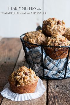 These are soooo good! Hearty Muffin Recipe with Walnuts Oatmeal and Applesauce on http://dineanddish.net