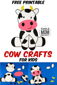 Get your FREE printable cow template to make this super cute and easy farm cow craft! This barnyard cow is great fun for preschool, toddlers and big kids! Our diy Build-a-Cow crafts make fast Diy Crafts For Girls, Fun Diy Crafts, Paper Crafts For Kids, Preschool Crafts, Farm Animal Crafts, Animal Crafts For Kids, Toddler Crafts, Printable Crafts, Free Printable