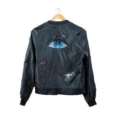 Negra Tomasa by Artist Ivette Bassan - Bomber Black Jacket with Swarovski Crystals for Women