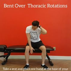 Bend over to dissociate the low back from this thoracic mobility exercise. Click the link for more online programs. Workout At Work, Hip Workout, Gym Workouts, Posture Correction Exercises, Posture Stretches, Rotator Cuff Rehab, Muscle Fitness, Muscle Food, Fitness Diet