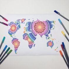 Rainbow mandala world map by CreativeeMinds on Etsy