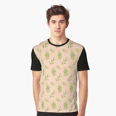 f590433fab3db1 Green bamboo leaves Graphic T-Shirt Front
