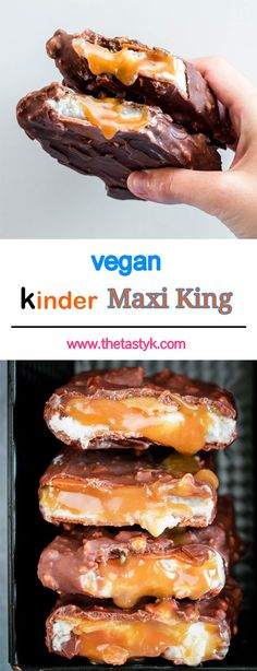 Vegan Kinder Maxi King My favorite childhood treat veganized! A core of gooey caramel surrounded by milky cream a crispy wafer and coated in delicious hazelnut chocolate! The post Vegan Kinder Maxi King appeared first on Vegan. Desserts Végétaliens, Healthy Desserts, Chocolate Desserts, Vegan Recipes, Snack Recipes, Dessert Recipes, Dessert Bars, Pancake Recipes, Maxi King