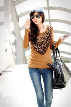 Korean Long Sleeve O-Neck T-Shirt with Scarf Yellow on BuyTrends.com, only price $11.67