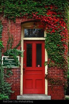 "Door 1 Front door pictures - in Feng Shui, a red front door means ""welcome.""Front door pictures - in Feng Shui, a red front door means ""welcome. Green Front Doors, Exterior Front Doors, Front Door Colors, Glass Front Door, Front Door Decor, Glass Door, Door Entryway, Entrance Doors, Entryway Ideas"