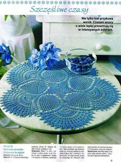Blue pineapple doily with diagram