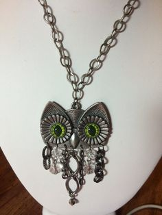 Wise Old Owl Bling Pendant Necklace