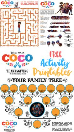 Are you loving the Disney movie Coco? Even if you haven't had a chance to see it yet, these printable activity sheets are a fun way to experience the movie! History Activities, Autism Activities, Catholic Holidays, Disney Crafts For Kids, Activity Sheets, Activity Days, Family Tree Chart, Kindergarten, Wedding Save The Dates