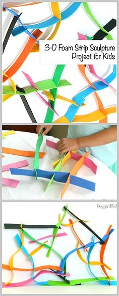 Easy Building Activity for Kids: 3-D Sculptures Using Foam Strips- Fun art project that provides fine motor practice and perfect for a rainy day! ~ BuggyandBuddy.com