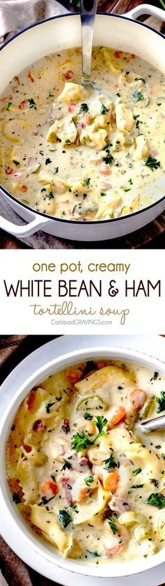 Creamy Ham and Bean Soup (with tortellini) ONE POT hearty, cozy, Creamy White Bean and Ham Tortellini Soup simmered with onions, carrots, celery and seasonings is SO easy and lick your bowl delicious! love the addition of cheesy tortellini! Cooker Recipes, Crockpot Recipes, Pasta Recipes, Tortellini Recipes, Creamy Soup Recipes, Fall Soup Recipes, Sunday Dinner Recipes, Winter Recipes, Chili Recipes