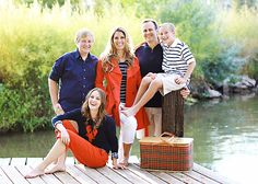 Navy & Orange or Coral Nautical Family Pictures