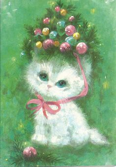 Unused Vintage Greeting Card White Kitty Cat Christmas Tree Hat Pink Ornament A+ Christmas Tree Hat, Christmas Kitten, Christmas Puppy, Old Christmas, Christmas Scenes, Christmas Animals, Vintage Christmas Cards, Retro Christmas, Vintage Holiday