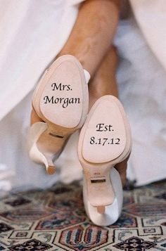 Custom vinyl save the date decals for shoes are available at Boardman Printing. order yours today!