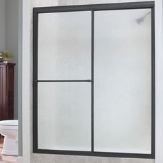 "Hazelwood Home Chase 48"" x 70"" Single Sliding Framed Shower Door Trim Finish: Oil Rubbed Bronze, Glass Type: Obscure Glass"