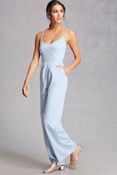 A woven wide-leg jumpsuit featuring a back cutout with a self-tie bow, a V-neckline, front pleats, slanted front pockets, adjustable cami straps, and a concealed back zipper.<p>- This is an independent brand and not a Forever 21 branded item.</p>