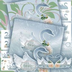 Shaped Royal Swan Decoupage Card Mini Kit - A swan shaped card in shades of silver & blue with two optional backers: a silvery floral brocade & a blue, pink & green floral. Accented with a bouquet of water lilies, this romantic card is a beautiful and enchanting way to help anyone celebrate their special day.  Art by Hafapea, Jaguarwoman & Zai by Design. #CardMakingKits #CraftsUPrint #LisaMayette #Hafapea