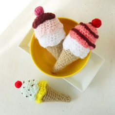 Ice Cream Crochet Pattern PDF  tiny amigurumi food  by bySol