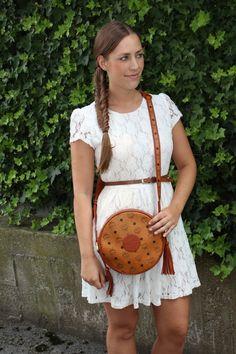 this Lace Dress #lacedress #mcm #bag #crossbodybaf #sandals