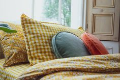 Bedding In Liberty Print Capel Mustard Duvet Bedding Sets, Cotton Bedding, Quilt Bedding, Dream Bedroom, Home Bedroom, Bedroom Decor, Mustard Bedroom, King Duvet Set, Liberty Print