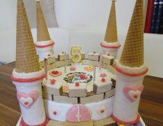 Bei dieserPrinzessinnen-Schloss Torte ist alles essbar, auch die Türme! Es sind keine Papierrollen verbaut! Für die Prinzessinnen-Schloss-Torte