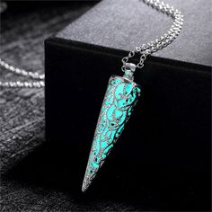 Glow In The Dark Decorated Horn Necklace