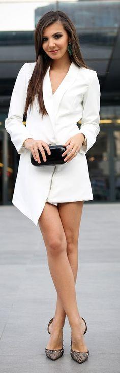 White Asymmetrical Zip Detail Tuxedo Mini Dress