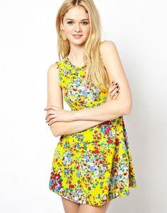 Motel Floral Print Skater Dress
