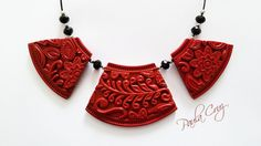 Polymer Clay Faux Cinnabar necklace, Paula Cruz