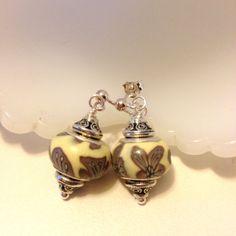Gray Yellow Beaded Earrings  drop earrings with by besboutique, $12.50