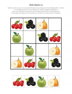 My Fruit Sudoku Puzzles challenge children's critical thinking skills while enticing them to enjoy a wonderful variety of fruits. Preschool Activities At Home, Body Preschool, Pre K Activities, Autism Activities, Printable Puzzles For Kids, Free Printables, Autism Learning, Sudoku Puzzles, English Worksheets For Kids