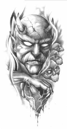 Trendy Ideas For Tattoo Dragon Skull Jack Oconnell Dragon Tattoo With Skull, Evil Skull Tattoo, Clown Tattoo, Demon Tattoo, Sick Tattoo, Skull Tattoos, Body Art Tattoos, Sleeve Tattoos, Dragon Tattoos
