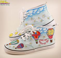 Casual Fashion Shoes for girls - Hand Painted Sneakers with hot air balloons and daisies -facebook: Lulush.Shoes