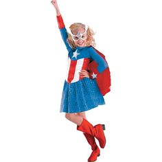 Girls Costumes - This child Captain America Girlu0027s Classic child costume includes the superhero costume dress with attached cape and the eye mask.  sc 1 st  Pinterest & 26 best Girls Superhero Costumes images on Pinterest | Infant ...