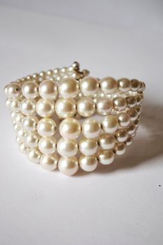 Pearls Bracelet Vintage Beautiful Beaded Jewelry 5 Strands Stretchable #Box 1 by eventsmatters on Etsy