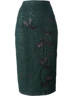 Nº21 Butterfly Embroidered Lace Pencil Skirt - Bernard - Farfetch.com