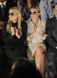 The Olsen twins at a Chanel fashion show.