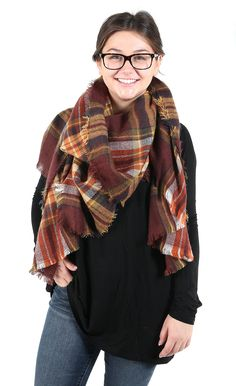 Queen of Tartan Scarf - Brick from Cheeky Peach Boutique