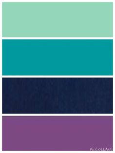 Mint, teal, navy, and purple color scheme
