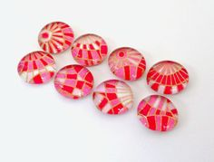 SALE Pink Checks  set of 8 Glass Magnets by TannerGlass on Etsy