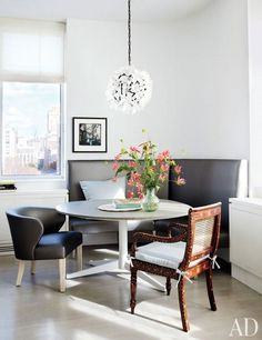 The sun-filled dining area of Julianna Margulies's New York City apartment.