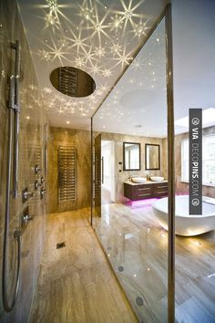 So cool - Stars on the ceiling and large glass shower | CHECK OUT MORE IDEAS FOR SHOWERS AT DECOPINS.COM | #showers #masterbathrooms #bedroom #bedrooms #bathroom #bathrooms #homedecor #beds #interiordesign #home #homedecoration #design