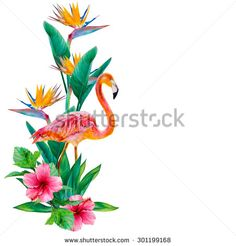Hand-drawn watercolor illustration. Tropical element. Flamingo bird and exotic flowers. Yucca palm, Hibiscus, Strelitzia. Painted with a brush on paper image. - stock photo