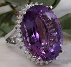 Estate 34.37 Carats Natural Spectacular Looking Amethyst and Diamond 14K Solid W #Unbranded