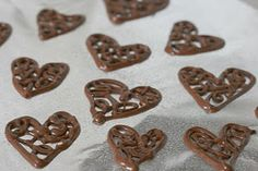 Chocolate filigree hearts recipes on pinterest for Chocolate filigree templates
