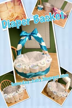 Diaper Basket Tutorial: Make a cute diaper gift for a baby shower with this DIY craft! Idee Baby Shower, Baby Shower Crafts, Shower Bebe, Baby Shower Diapers, Baby Crafts, Baby Boy Shower, Baby Showers, Baby Shower Gift Basket, Diaper Cakes Tutorial