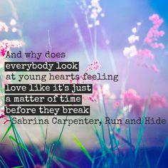 Sabrina Carpenter Run and Hide Lyrics