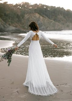 Long Sleeve Open Back Bridal Gown | Boho Lace Bridal Gown Romantic Bohemian Wedding Dresses, Indie Wedding Dress, Cotton Wedding Dresses, Open Back Wedding Dress, Wedding Dress Sleeves, Long Sleeve Wedding, Boho Bride, Dress Lace, Sleeve Dresses