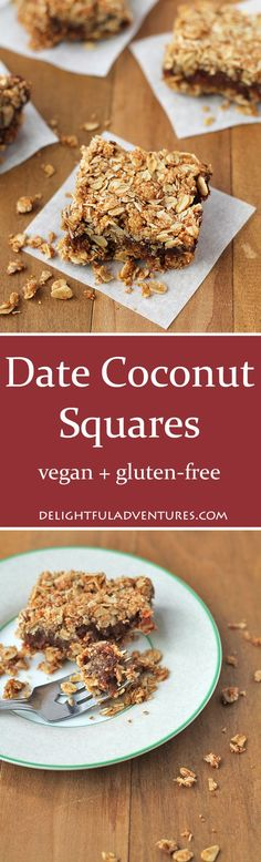 Add a little twist to traditional date squares with these Date Coconut Squares! Not only do they contain coconut, they're also vegan and gluten free!