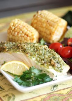 Halibut with a Pine Nut Crust {the fish recipe that even my pickiest eaters love} - get the recipe at barefeetinthekitchen.com